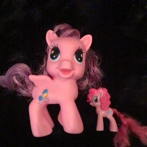 2 My little pony large and small figurine toy pink